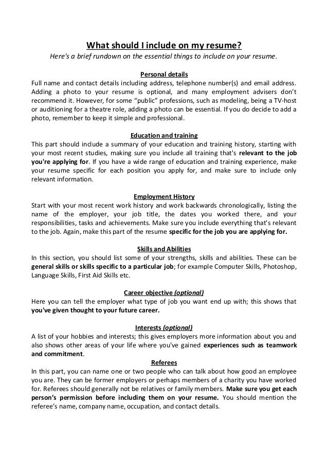 What Should I Include On My Resume? Heres A Brief Rundown On The Essential  Things  What Should Be Included In Resume