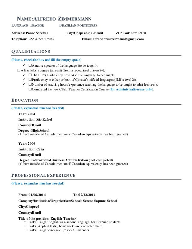Resume Template Language Instructors
