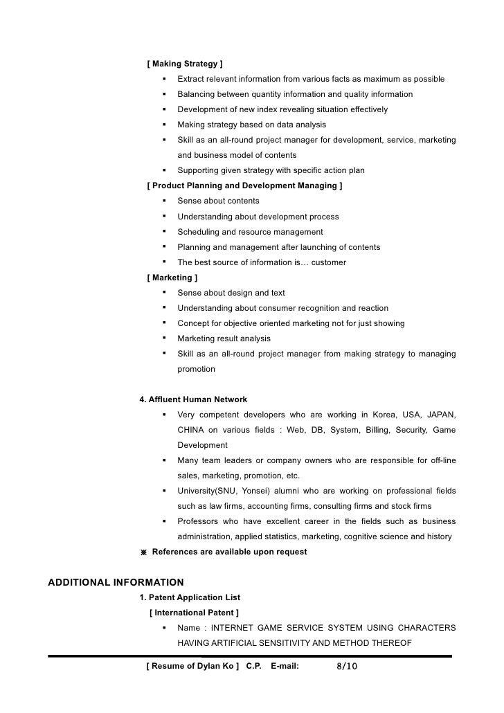 resume template  sample dylan ko