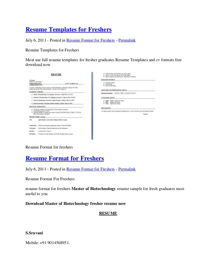 Resume Templates for FreshersJuly 6, 2011 - Posted in Resume Format for  Freshers - PermalinkResume ...