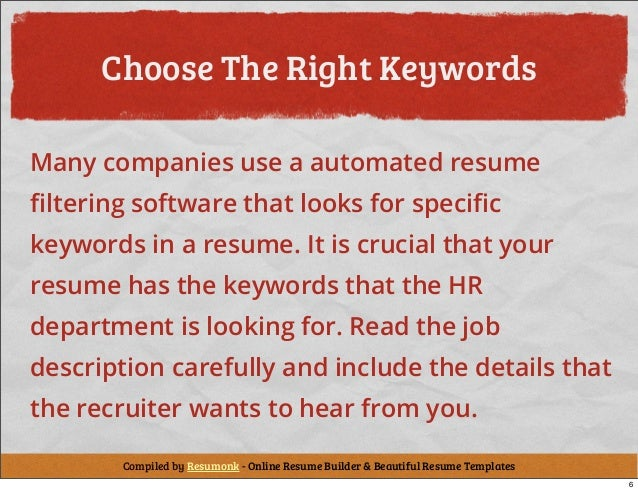 keywords for resume writing