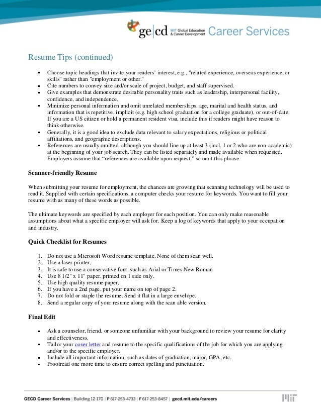 resume tips and samples
