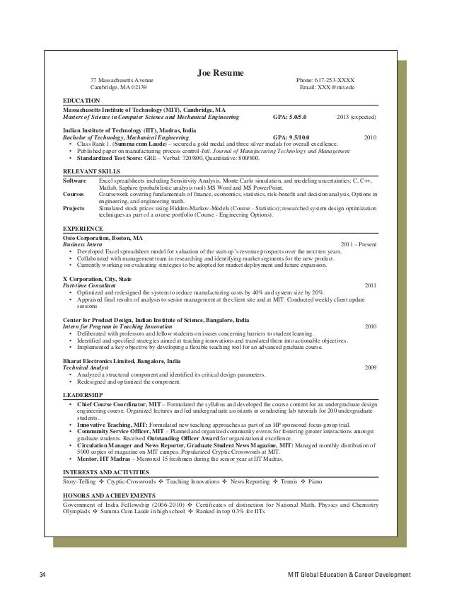 Latex Template Resume. Resume Tips And Samples - Computer Science ...