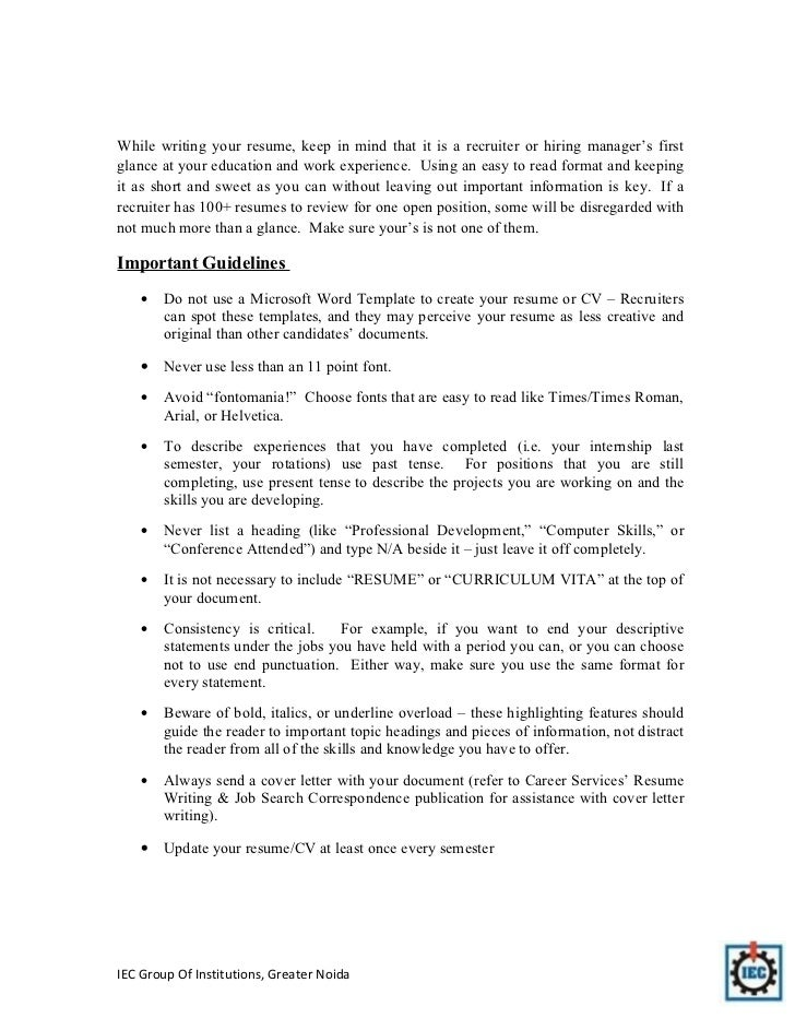 resume publication format
