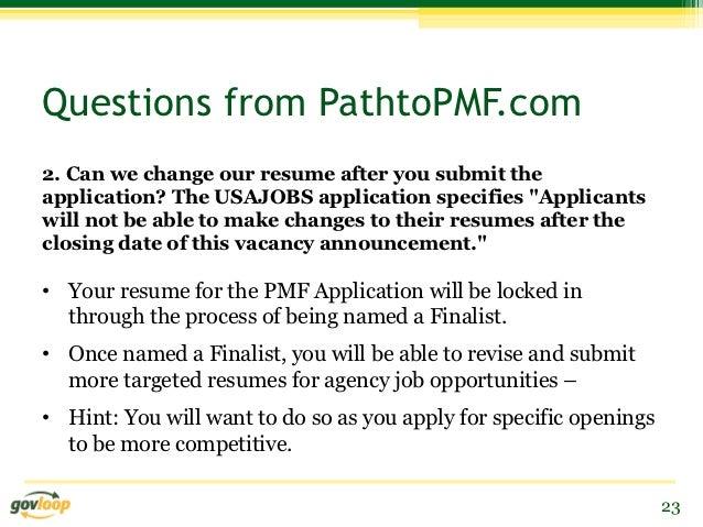 resume tips for prospective presidential management