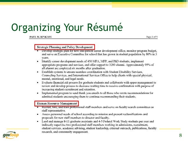 resume tips for prospective presidential management