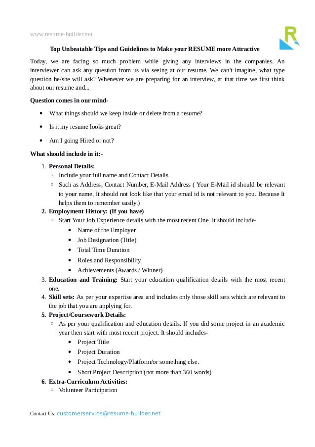 Www.resume Builder.net Top Unbeatable Tips And Guidelines To Make Your  RESUME ...  Resume Guidelines