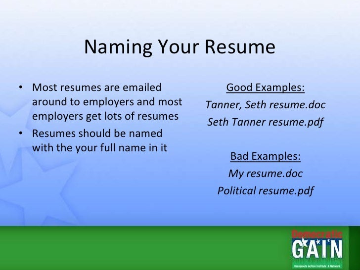 Naming Your Resume ...  What To Name Your Resume