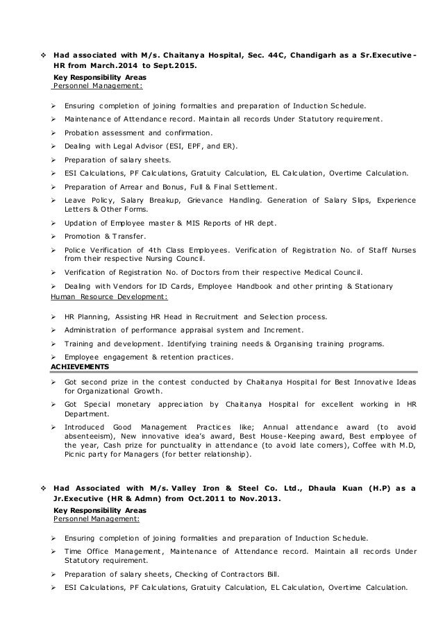 resume for hr profile