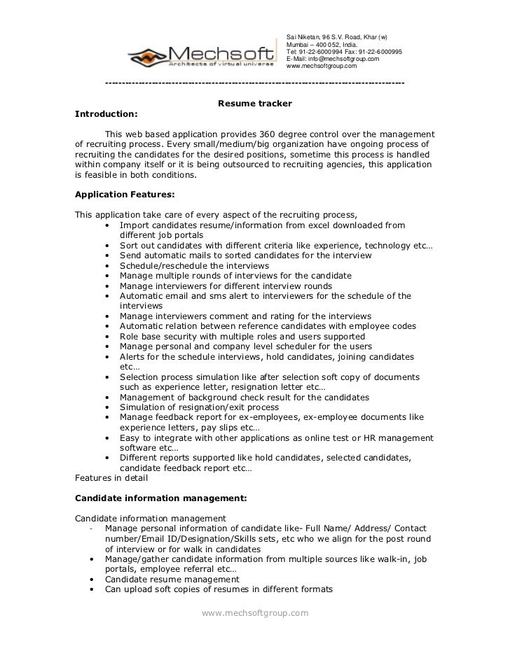 Mechsoft Product Resume Tracker Brochure