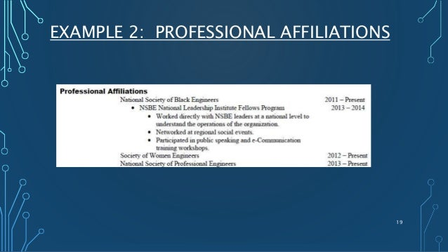 EXAMPLE 2: PROFESSIONAL AFFILIATIONS 19 ...  Affiliations On Resume