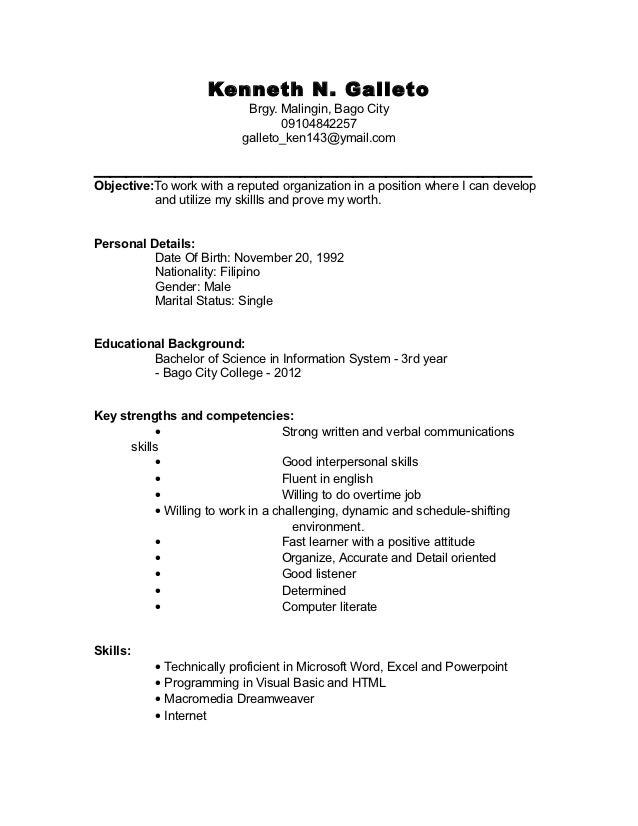 Great Resume For College Undergraduate. Kenneth N. Galleto Brgy.