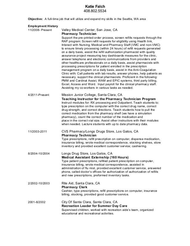 Pharmacy Technician Resume Template | Resume Format Download Pdf