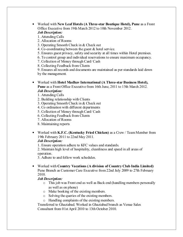 front office executive resume