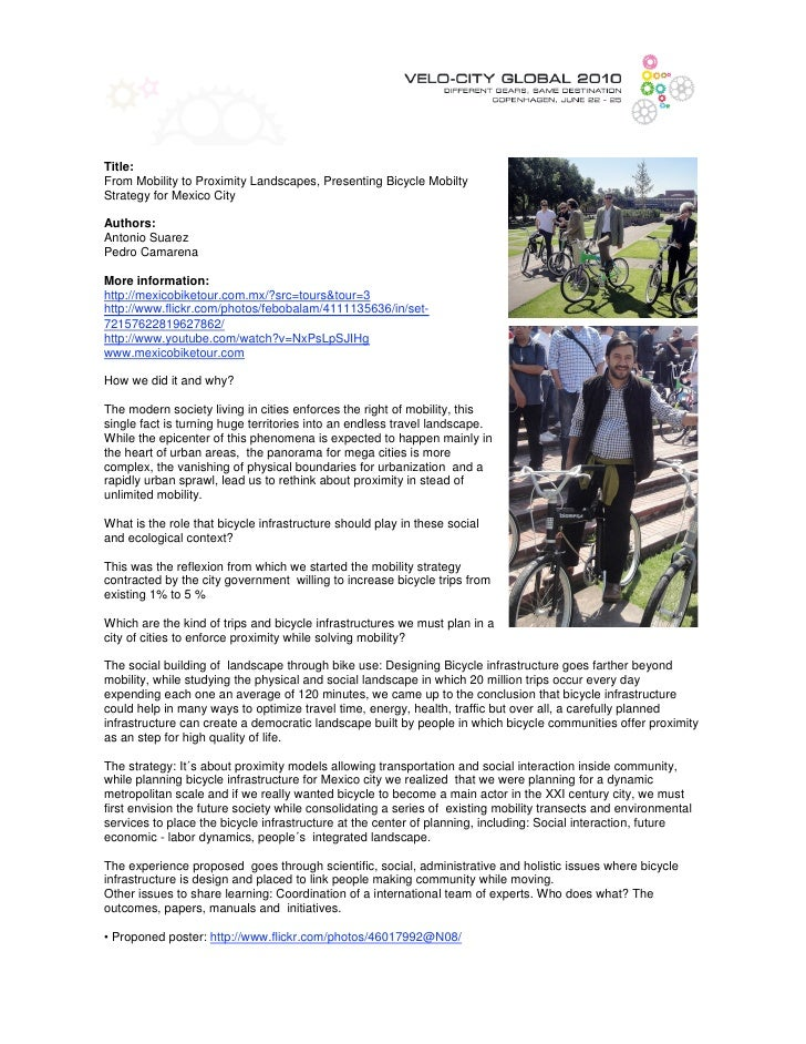 Title: From Mobility to Proximity Landscapes, Presenting Bicycle Mobilty Strategy for Mexico City  Authors: Antonio Suarez...