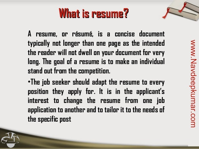Navdeepkumar.com; 3. What Is Resume?  Is A Cv The Same As A Resume