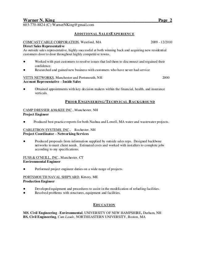 resume warner king 2013