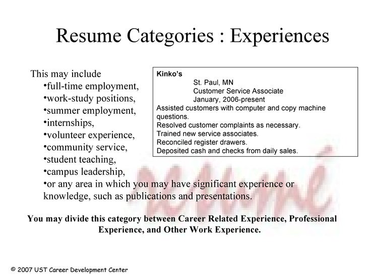 resume categories