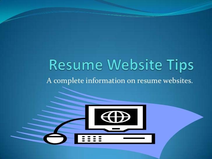 A complete information on resume websites.