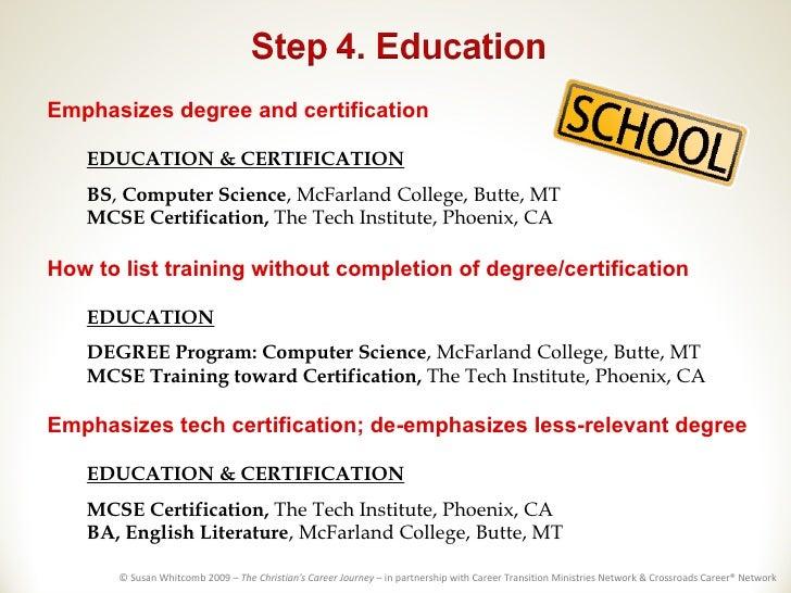 list degree on resume