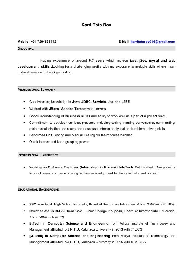Resume with 7 months internship experiance in java