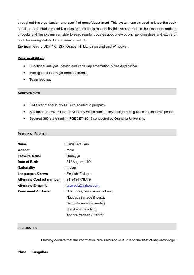 Resume With Months Internship Experiance In Java