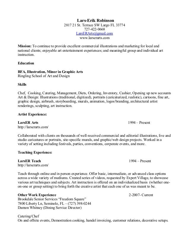Resume With Food Service 020712. Lars Erik Robinson 2817 21 St. ...  Food Service Resume