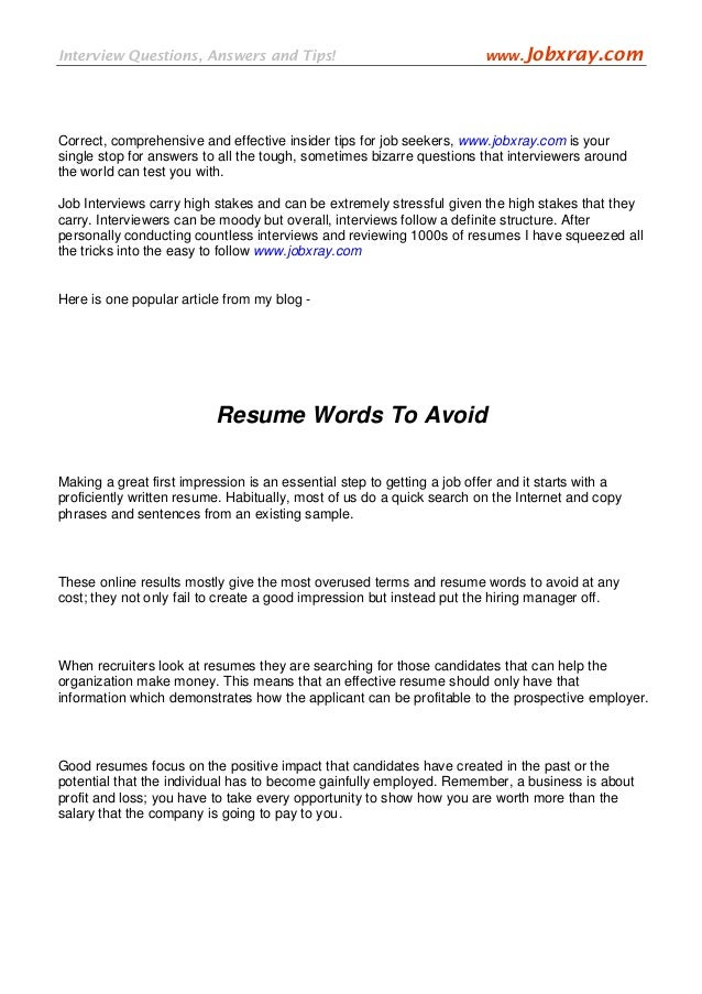 resume words to avoid resume ideas
