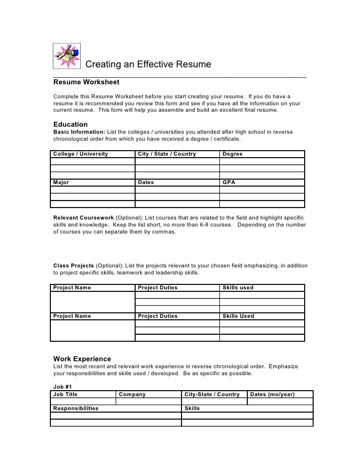 Awesome Resume Worksheet Complete Th.
