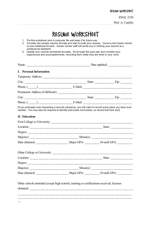 photo regarding Resume Worksheet Printable identify Resume worksheet