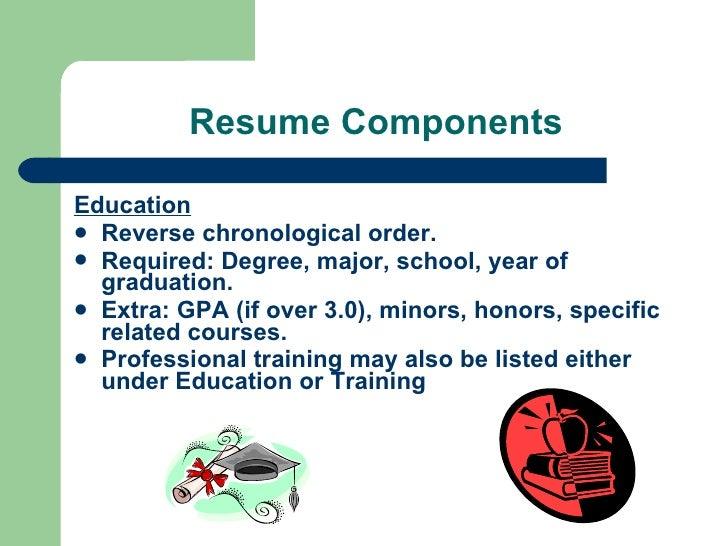 resume education in chronological order