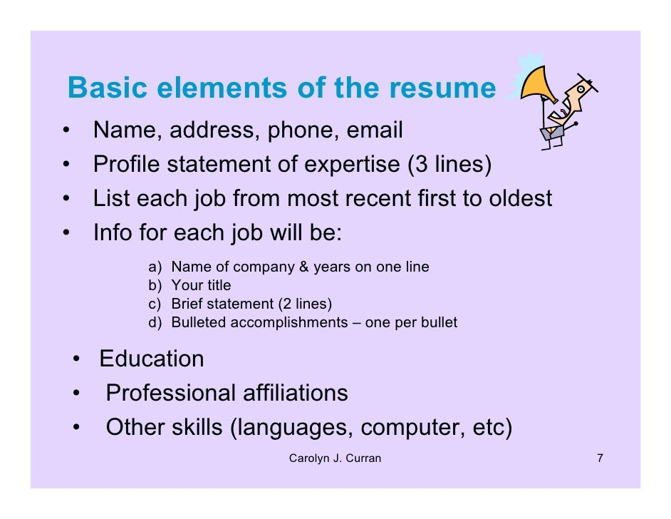 this workshop demonstrates chronological type resumes carolyn j curran 6 7 basic elements - Elements Of A Resume
