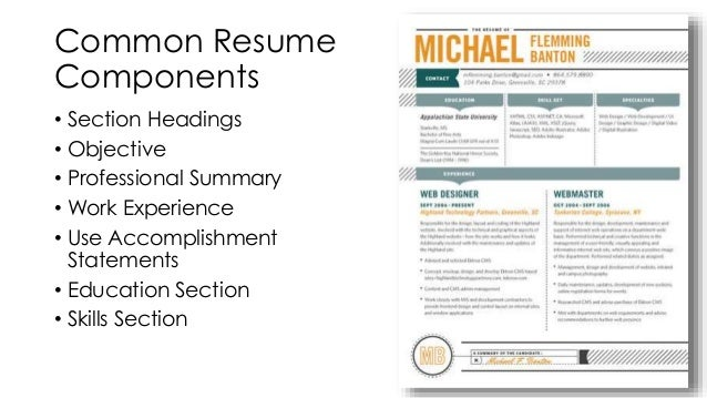... 17. Section Headings ...  Headings For A Resume