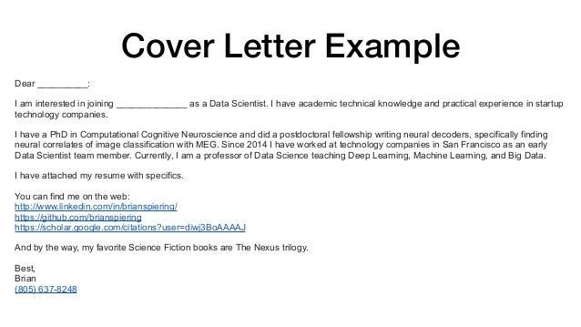 Cover Letter Sample Data Science