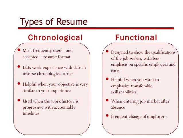 types of resume chronological functional