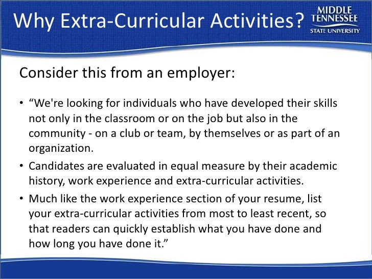 Extracurricular Activities On Resume Fiveoutsiders Com