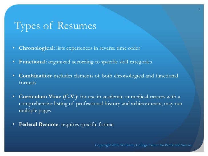 Resume Writing Online WorkshopCopyright 2012, Wellesley College Center For  Work And Service; 2. 2Types Of ...  2 Types Of Resumes