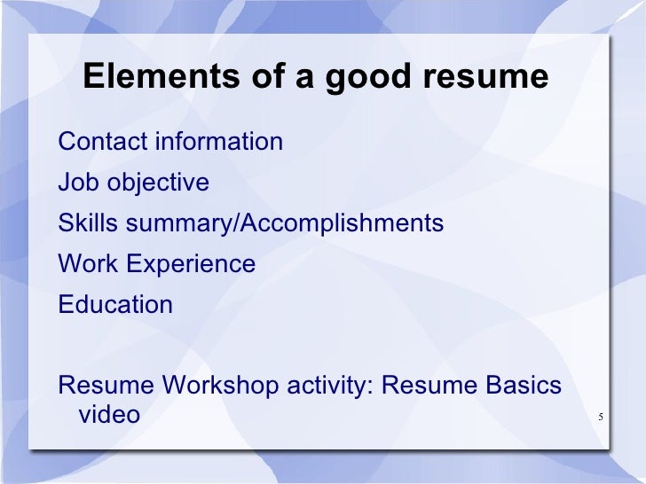 job placement circle resume workshop