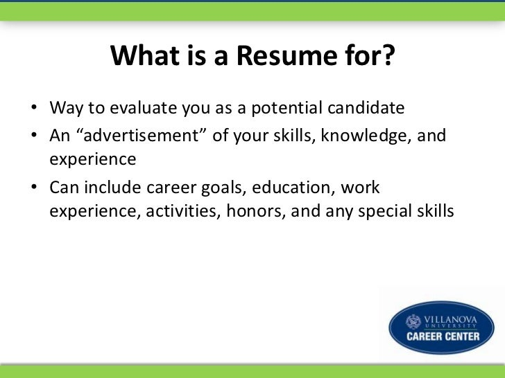 what is a resume for way to evaluate you as a potential candidate