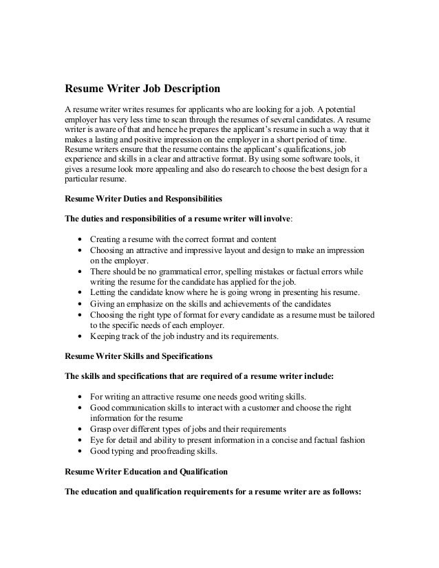 Resume Writer Job Description A resume writer writes resumes for applicants  who are looking for a ...