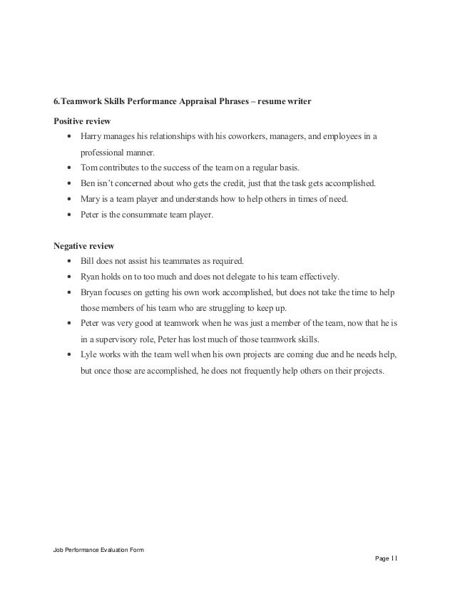 Job Performance Evaluation Form Page 10; 11. 6.Teamwork Skills Performance  Appraisal Phrases  resume ...