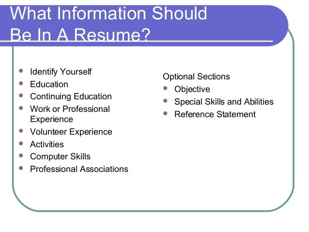 what should be on a resumes