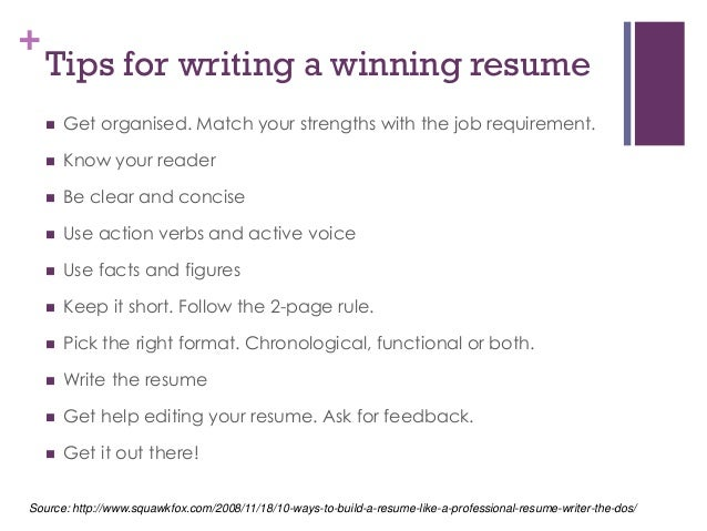... Organisation; 6. + Tips For Writing A Winning Resume ...