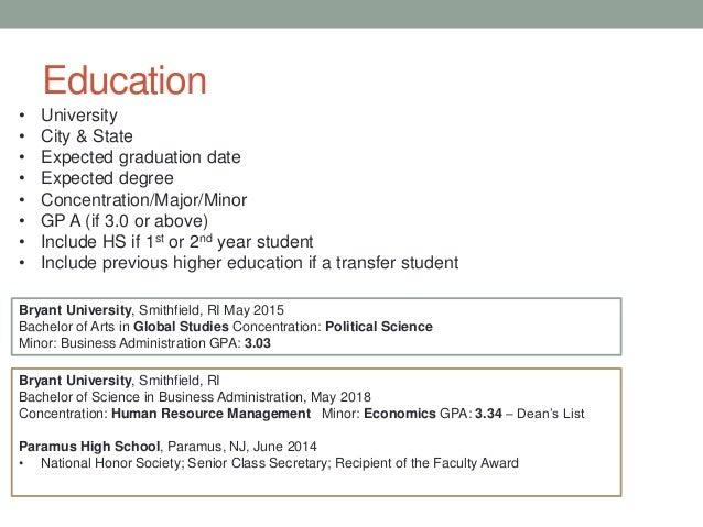 list education on resume