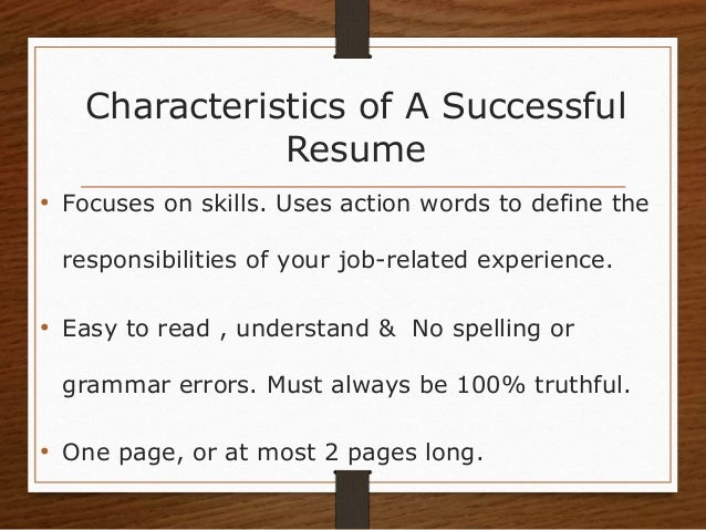 3. Characteristics Of A Successful Resume ...