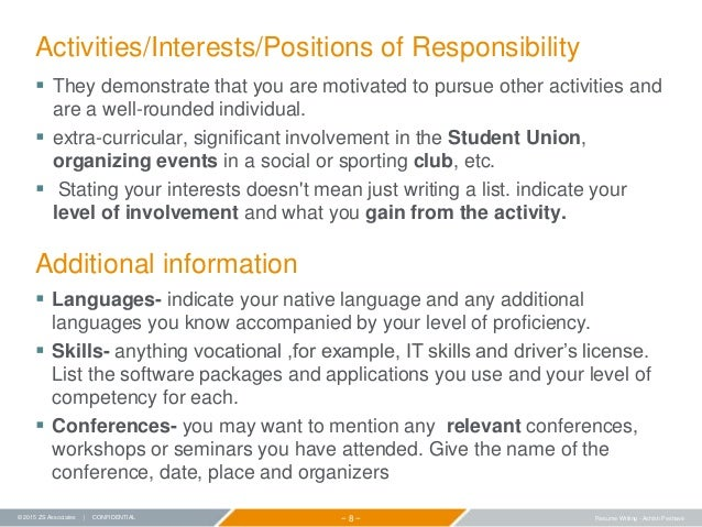 interests and activities for resumes