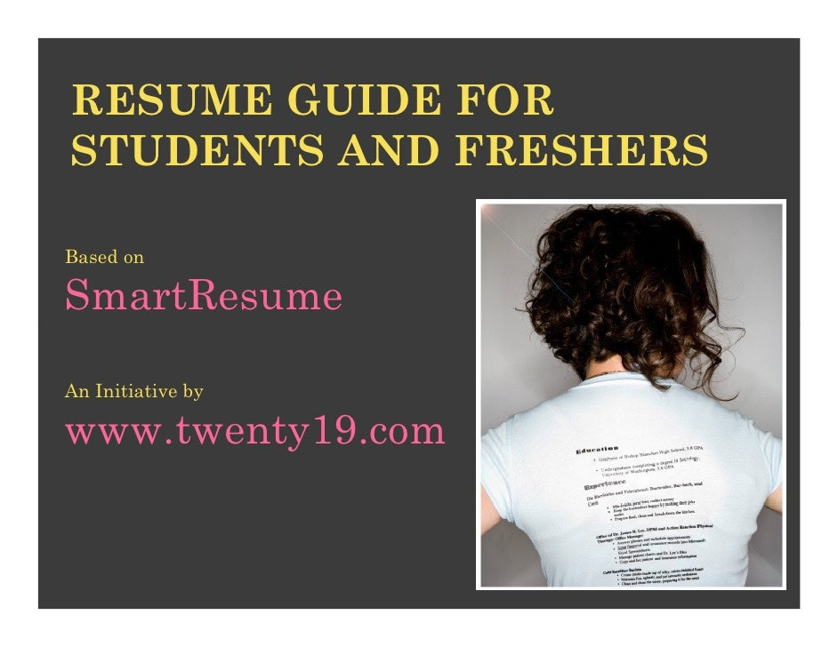 Sample Resume Download For Fresher Engineers%0A RESUME GUIDE FORSTUDENTS AND FRESHERSBased onSmartResumeAn Initiative  bywww twenty   com