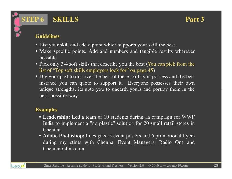 ... 28. STEP 6 SKILLS Part 3 Guidelines List ...
