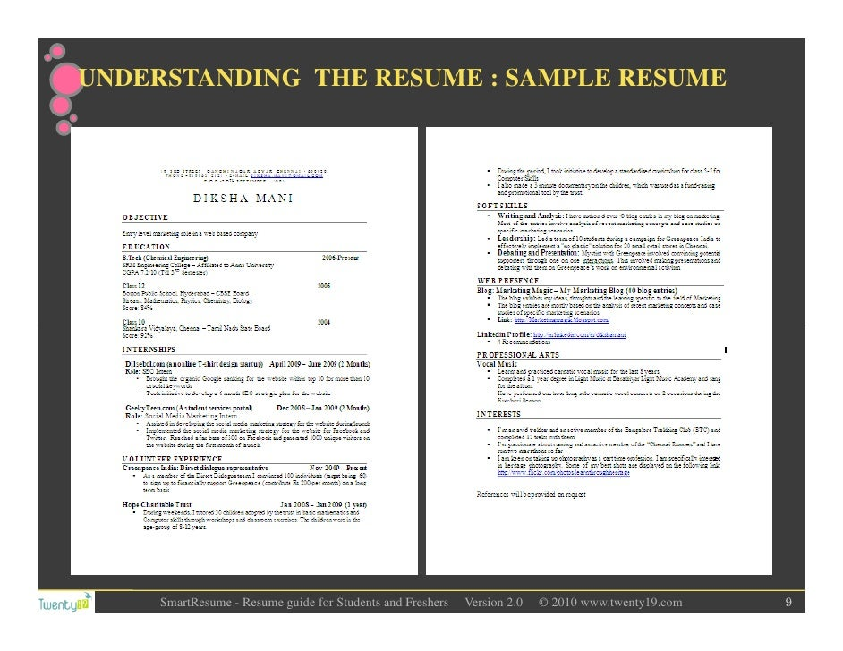 understanding the resume sample resume smartresume resume guide for ...