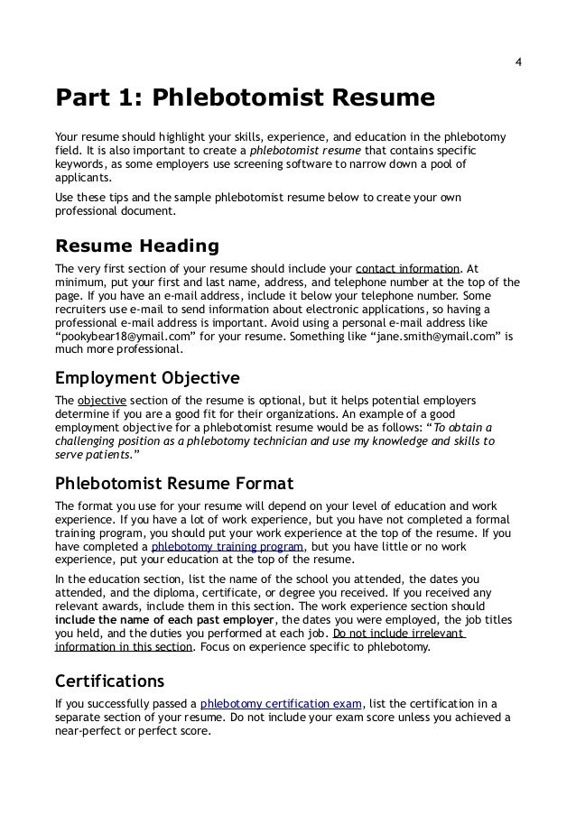 11 13; 4. 4Part 1: Phlebotomist ResumeYour Resume Should Highlight Your  Skills ...  Phlebotomy Skills For Resume